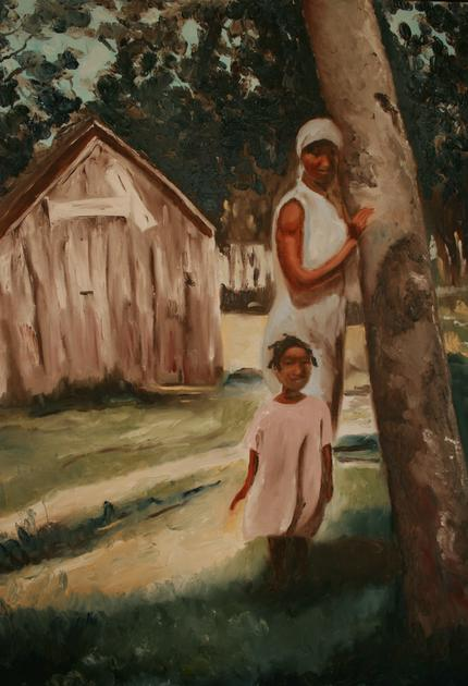 Black Family Oil Painting